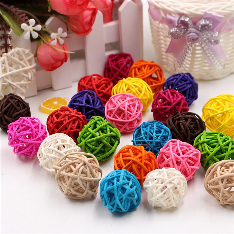 10pcs/lot 3cm Multicolor Rattan Ball Craft Wedding Birthday Party Home Decorations DIY Ornaments Festival Decor Kids Toys 62479
