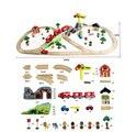 70 ШТ./КОМПЛ. DIY деревянный поезд трек набор игрушек С Электрическим магнитного локомотив Сборки железнодорожных игрушки для детей juguetes educativos