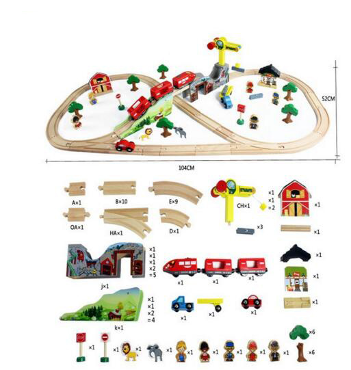 70 pièces/ensemble bricolage train en bois piste set jouets avec locomotive magnétique électrique assembler des jouets ferroviaires pour enfants juguetes educativos