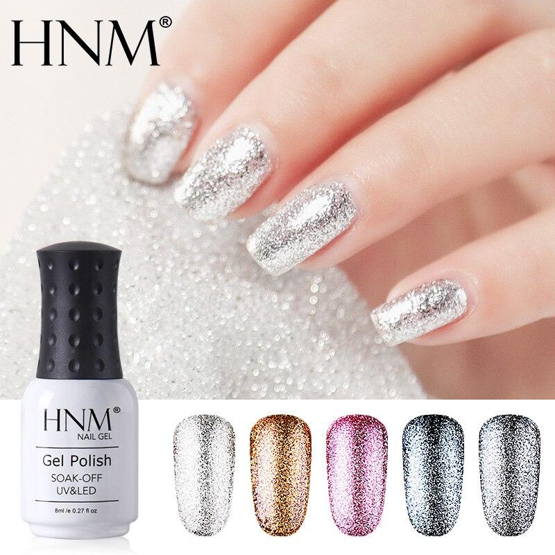 HNM 8 ml ציפורניים ג 'ל נצנצים LED UV ג' ל מניקור מבריק בלינג פלטינה פאייטים משרים כבוי UV ג 'ל לק חצי קבוע לכה