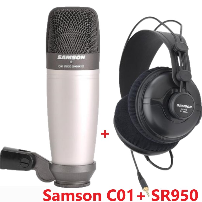 SAMSON C01 with SR950 for recording vocals computer live broadcast Studio Monitor Headphones Dynamic Headset Closed