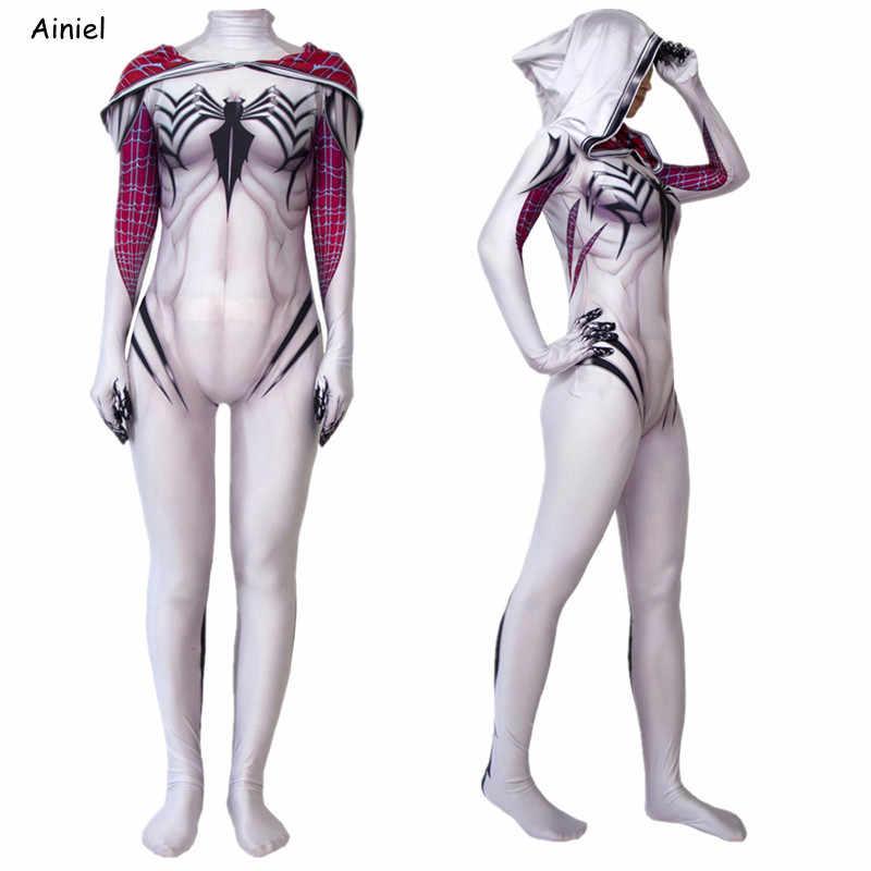 Venom spider terno gwen stacy cosplay máscara zentai super heros homem traje bodysuit macacão para adultos das mulheres crianças