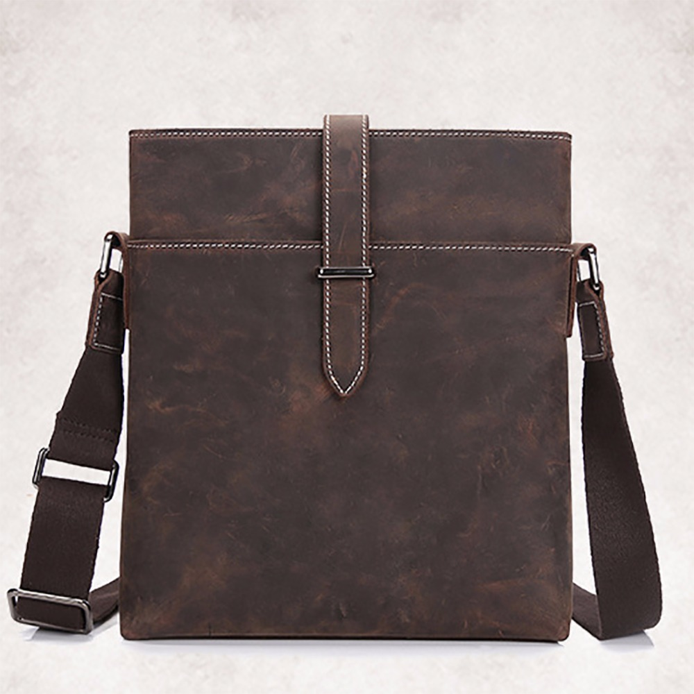 Men Vintage Genuine Leather Designer Single Shoulder Bag Retro Trend Cross Body Pack Male Crazy Horse Cowhide Messenger Bags New