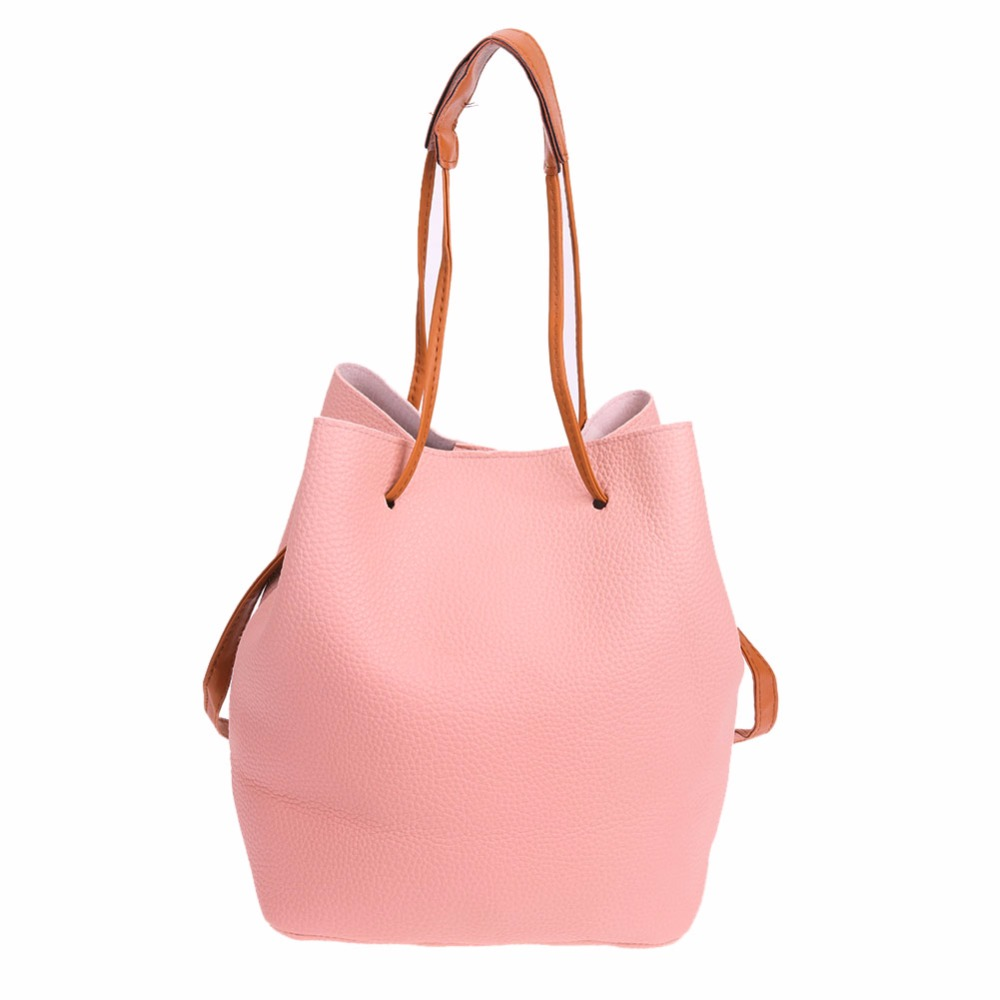 b8d2262c4 2pcs Women PU Leather Drawstring Bucket Bag Shoulder Handbags Multi  Purposes Tote Clutch Bag About color: 1.All product images were taken in  kind.