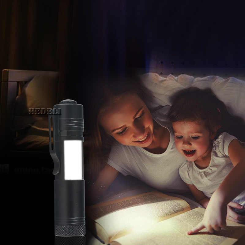 Мини cob Penlight светодиодный фонарик cree q5 Рабочий фонарь водонепроницаемый светильник linterna lanterna использовать 14500 перезаряжаемый аккумулятор или AA