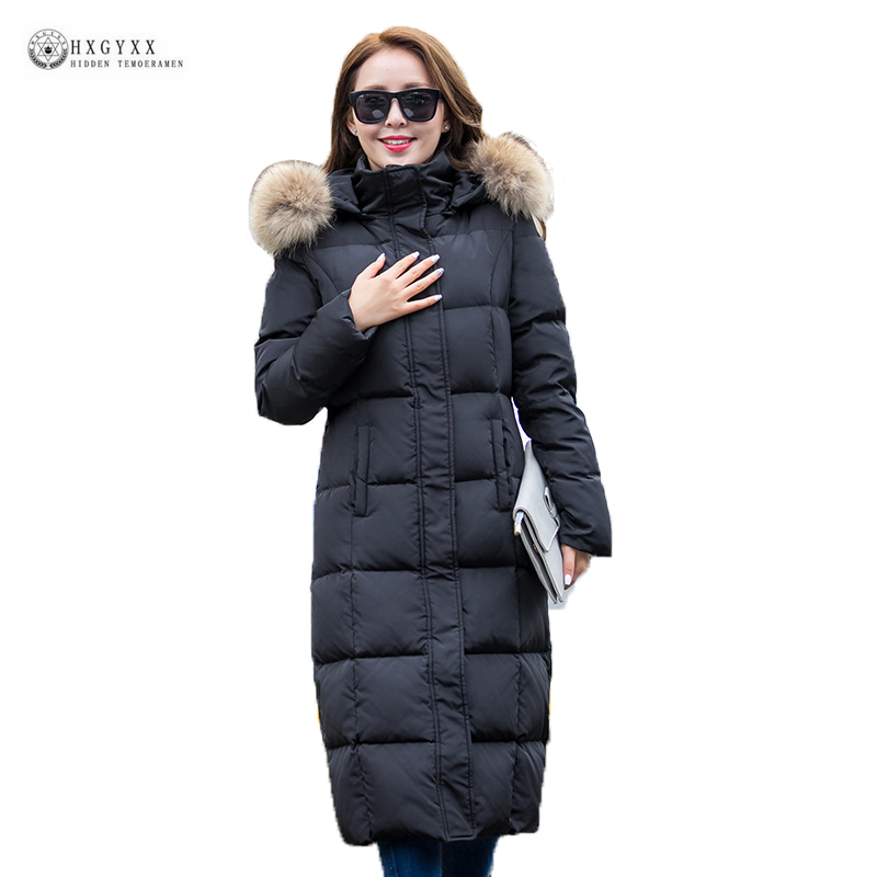 Women Long Down Jacket 2018 New Warm Hooded Real Raccoon Fur Collar White Duck Down Coat Slim Pure Color Female Outerwear OK1078 2015 hot new thicken warm woman down jacket coat parkas outerwear raccoon fur collar luxury slim long plus size xl hooded splice