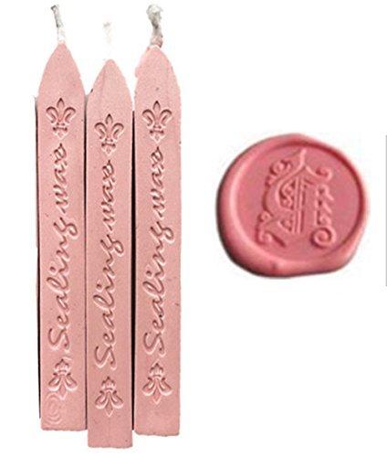 Nuovo 3 pz Rosa Bastoncini di Cera con Stoppini per Decorativo Inviti di Nozze Carte Regalo Ceralacca Sigillo di Cera Timbro di Tenuta (rosa)