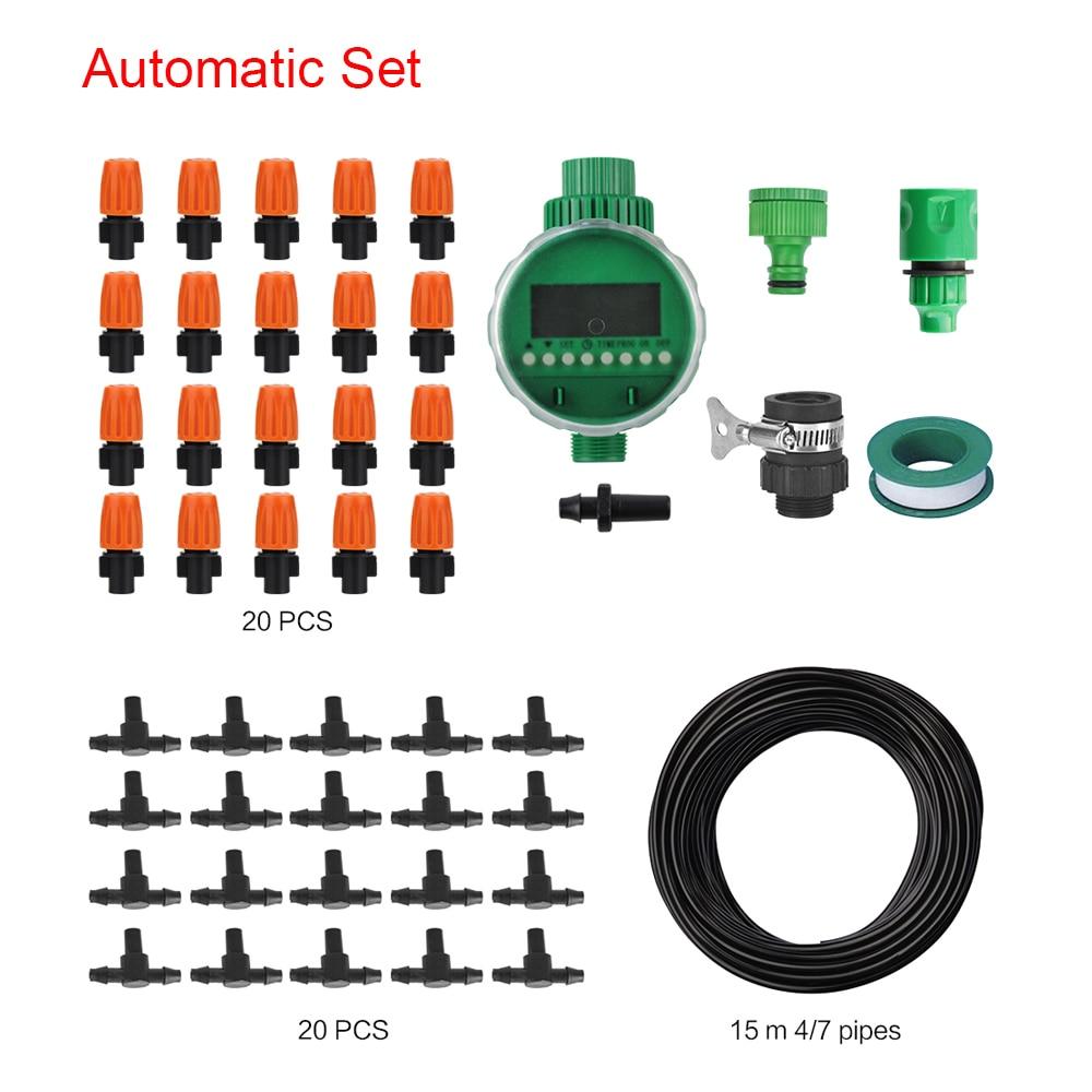 BORUiT 15M zavlažovací systém pro vodní hadice Automatické zavlažovací systémy Micro Drip Spray sprinklery samooplachovací pro zahradní skleníky