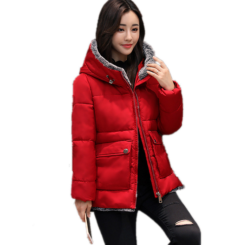 Short Fashion Warm Cotton Padded Large Size Hooded Parka Slim Chaquetas Mujer Solid Color Winter Coat Women Wadded Jacket TT3422 women winter coat thickening cotton padded clothing hooded parkas casual warm jacket women large size coat chaquetas mujer c3204