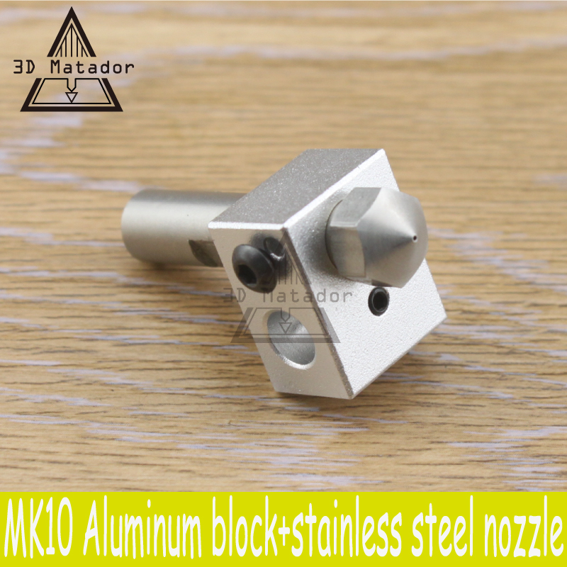 HOT!1SET MK10 Extruder M7 Nozzle kit Aluminum Heating Block+4pcs Stainless steel Nozzle+PTFE throat For MAKERBOT 2 3D Printer
