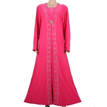 Islamic Clothing for Women Muslim Abaya Dress Beading Design Modest Jilbabs and Abayas Kaftan Dress Rose red 55X1090-1