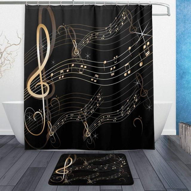 CHARMHOME Abstract Music Note Waterproof Polyester Fabric Shower Curtain With Hooks Doormat Bath Floor Mat Bathroom