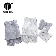 2019 Summer Children Sleeveless Printed Vest Baby Boys Cotton T shirt + Shorts Pants Kids Girls Casual Comfortable Clothes sets
