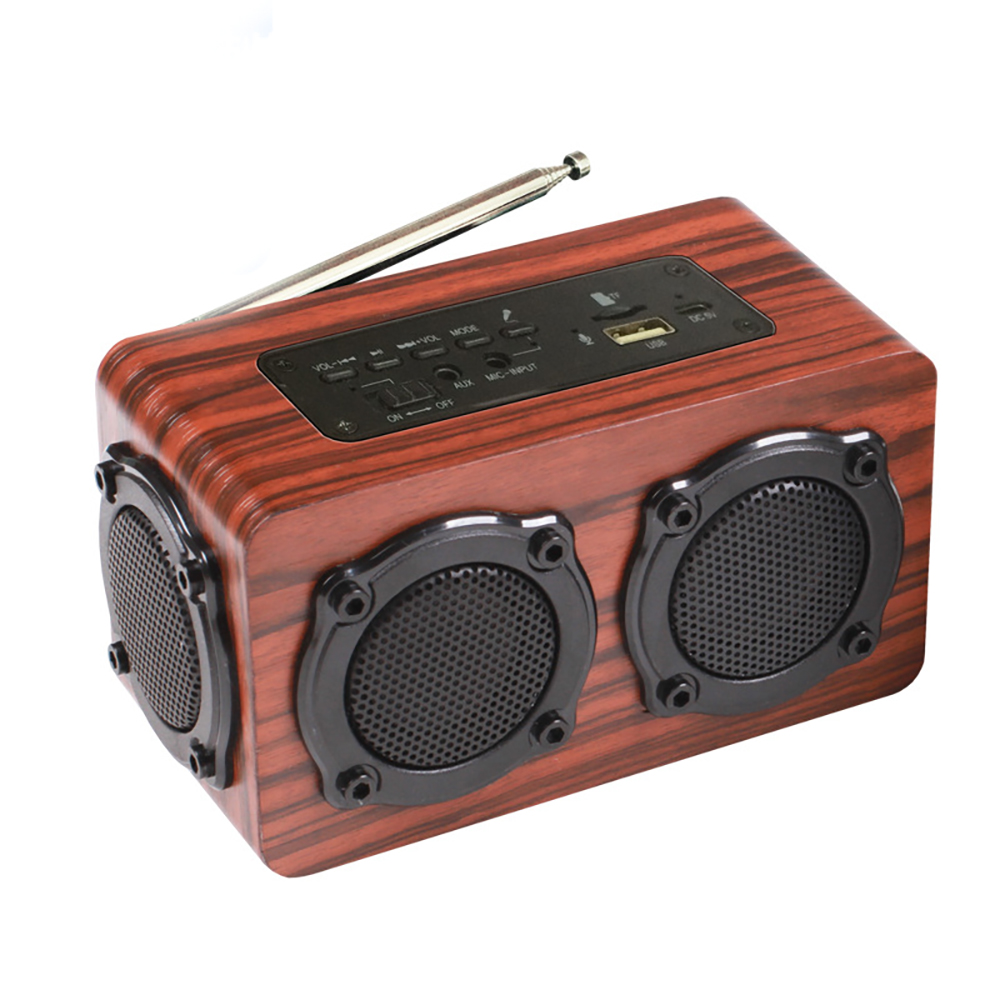 5W Wooden Bluetooth Speaker Portable FM Radio PC USB AUX TF Card Speakers Stereo Bass Sound Box For Computer Mp3 Android IOS