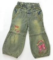 משלוח חינם ג 'ינס קיץ של הילדה מכנסיים לילדים בייבי ילדים עם trims זהב ועיצוב פרחים (MH-NJ4)
