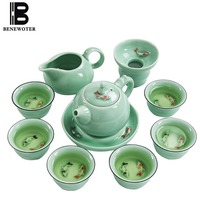 Longquan Celadon Small Fish Teaware Chinese Ceramic Kung Fu Tea Set Accessories Tea Ceremony Drinkware Lovely Fish Teacup Teapot
