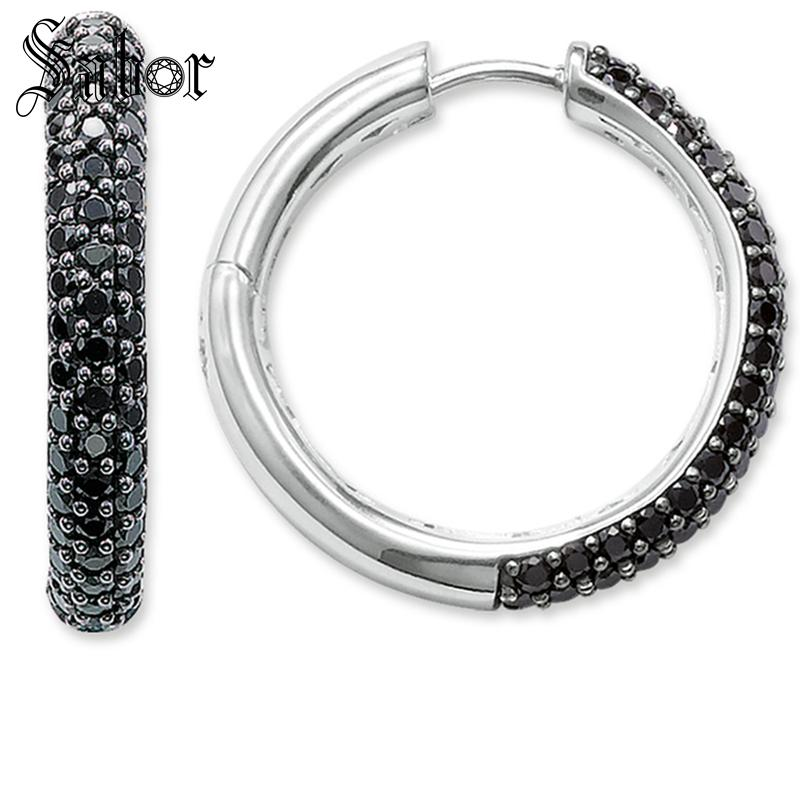 Creole Large Black Hinged Hoop Earrings 2019 New Zirconia Fashion Jewelry party 925 Sterling Silver Gift For Women Lover thomas