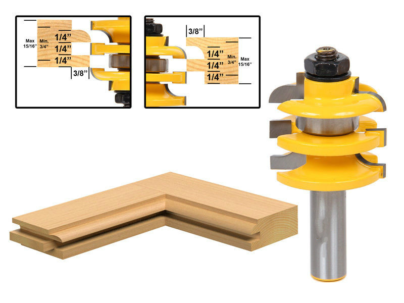 best price router woodworking tools Stacked Rail & Stile Router Bit - 1/2 Shank milling cutter /router tool/fresa