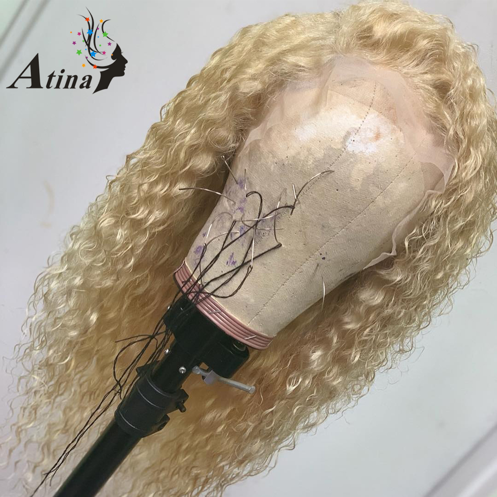 Colored Curly Honey Blonde Omber 613 360 invisible Lace Frontal Human Hair Closure Wig With Baby