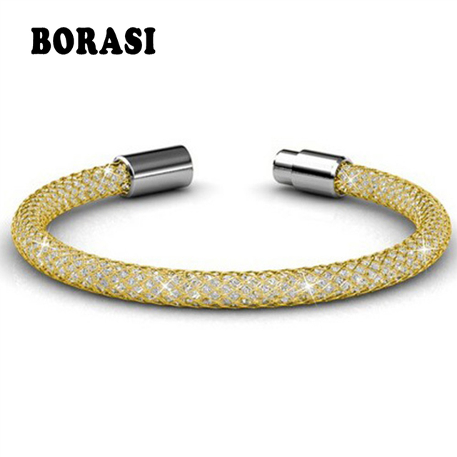 Women Trendy Stianless Steel Bracelets Crystal Inside The Net Chain Most Fashionable