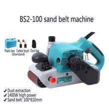 Портативный песочный ленточный станок BS2-100/BS6-100 деревообрабатывающий шлифовальный станок для металла 500 м/мин, 210-440 м/мин