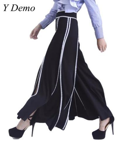 Y Demo Store Casual Women's Wide Leg Pants Split Side Stripe Elegant Female Long Pants Bottom