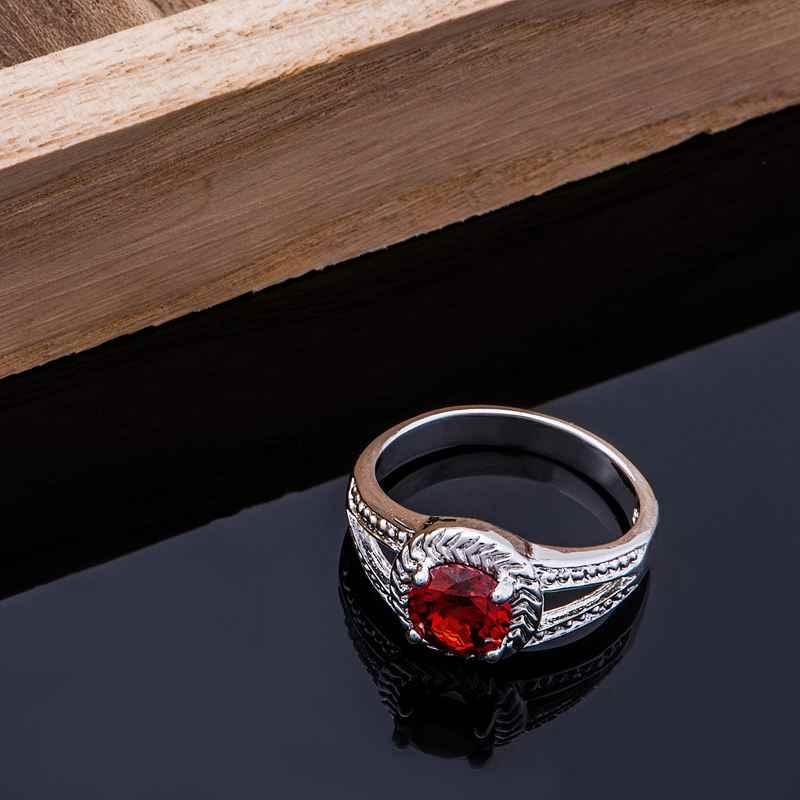 2016มาใหม่วงกลมสีแดงหินเงินชุบแหวนขายส่ง925เครื่องประดับแฟชั่นแหวนเงินDNLPAHPS