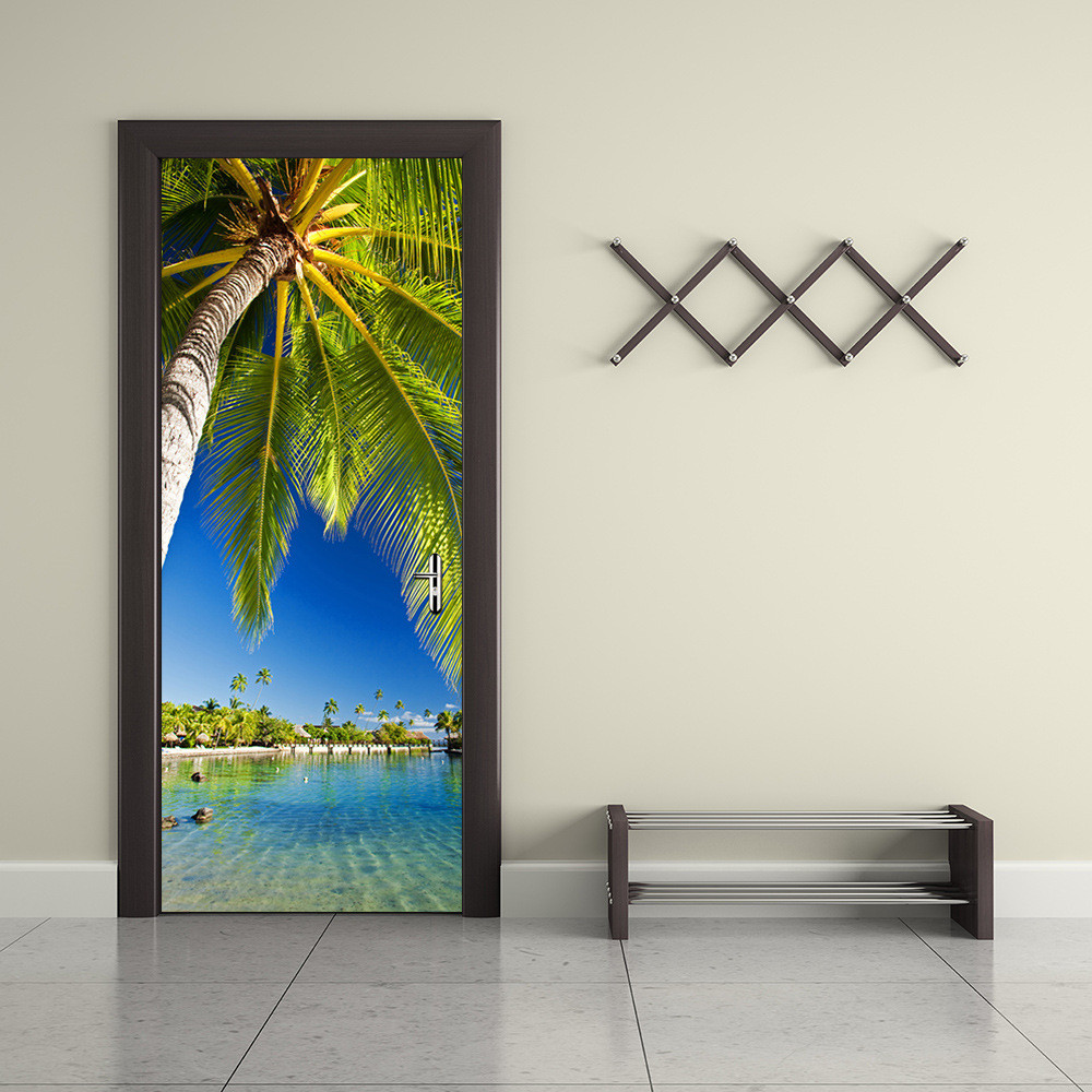 Funlife palm tree waterproof door sticker living room for Adhesive wall decoration