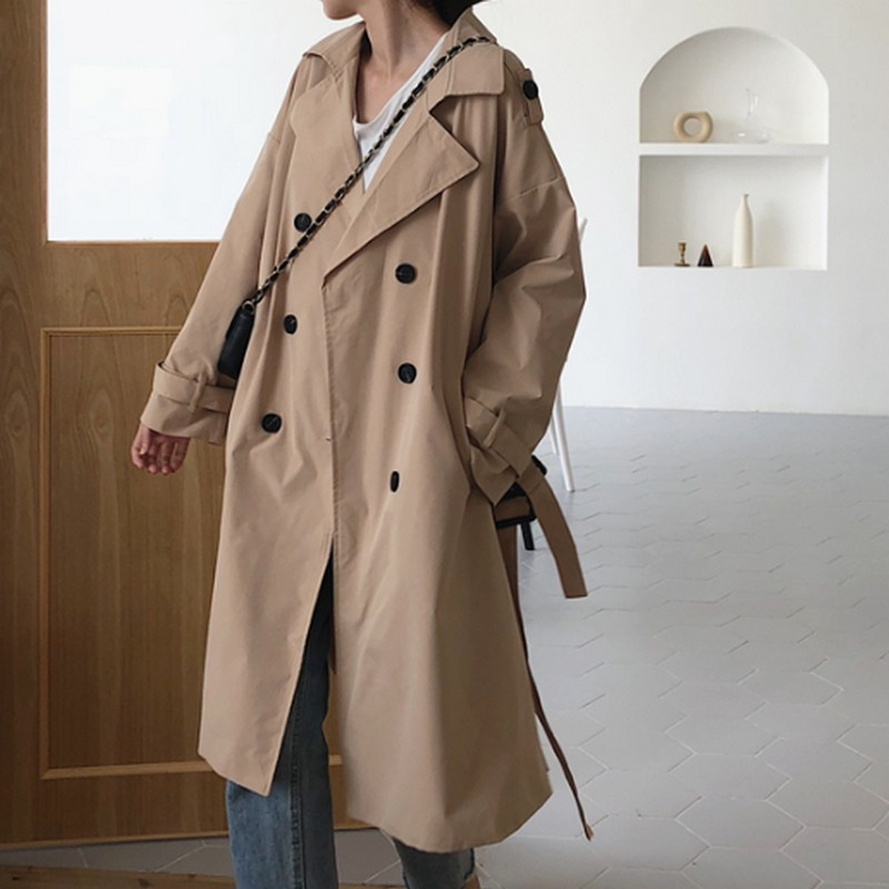 2019 New Fashion Korean Long Trench Coat for Women Casual Double breasted Women 39 s Coat Red Khaki Belt Loose Women 39 s Windbreaker in Trench from Women 39 s Clothing
