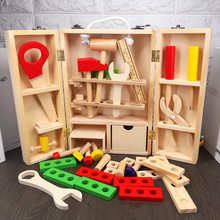MWZ Wood Repair Tools Kids Pretend Play Toys Educational Building Tool Kits Set Kids Baby Early Learning Wooden Toy Model(China)