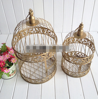 Bird Cage Candle Holder Hand Made Gold Moroccan Decor Vintage Metal Candle Lanterns Candelabra Bird Cage