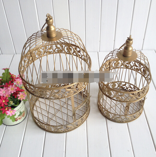 Hot Gold Bird Cage Decoration Hand-made <font><b>Candle</b></font> Lantern Vintage Metal <font><b>Candle</b></font> Bird Cages Moroccan Lanterns Wedding Decor 2017 New