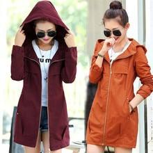 Cute Formal Windbreaker Slim Elegant Womens Tunic Jacket Outwear Lace Hooded Coat For Free Shipping