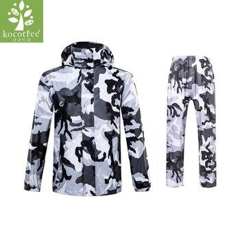 Adult Camouflage Raincoat Suit Impermeable Women/Men Hooded Motorcycle Poncho Motorcycle Rainwear M-3XL Hiking Fishing Rain Gear