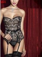 WK49 Corsetto Sexy corsetti Donne e bustini corpo che dimagrisce Corsetto Top sexy delle donne clubwear vita Pizzo Rosso corsetti all'ingrosso