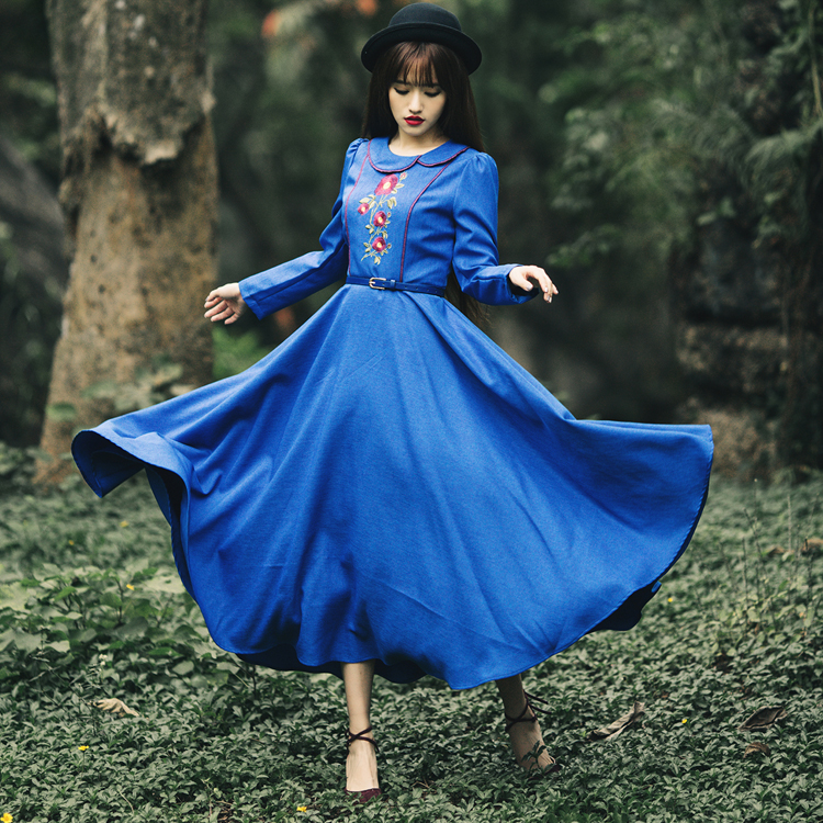 new arrival spring women dress blue vestidos casual dress vestido de festa maxi dress ancient vintage retro dress