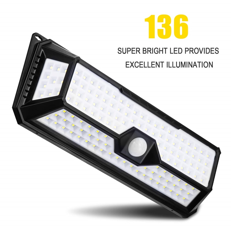 Solar 136 led nova luz solar ip65