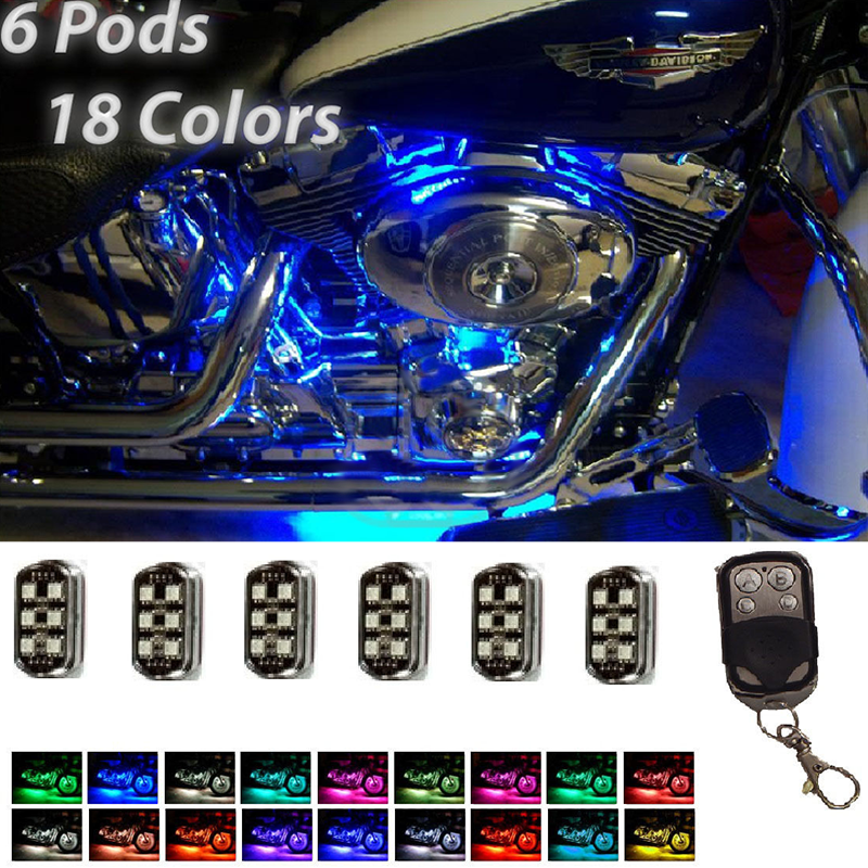 New Colorful 36 LED Motorcycle Pods Light Ground Effect Kit Set with Wireless Remote Control For Harley Super Bright RGB LED цена