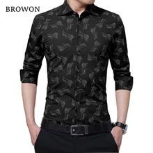 c3d5d0dff41 BROWON New Arrival Men Shirt Business Casual Office Shirt Men Plus Size  Long Sleeve Blouse for Man Camisa Masculina