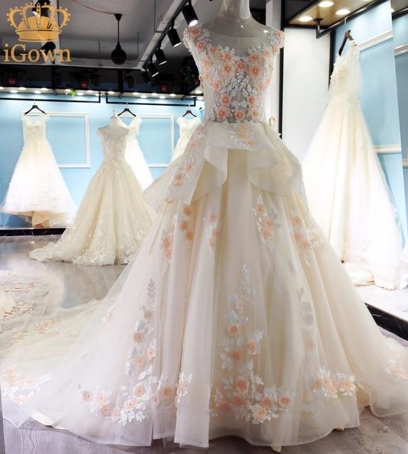 IGown Luxus Kristall Hochzeit Kleid Blumen Spitze Elegante ...
