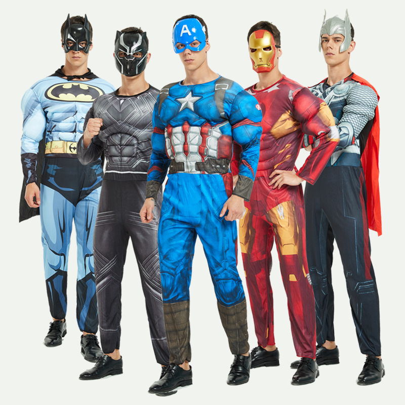 Adulte Muscle Avengers Cosplay Costume masque Costume Super héros capitaine amérique Costume SpiderMan Hulk Batman Avengers Costumes