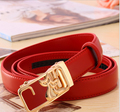 Red Genuine Cowhide Leather Split Solid Belts Leather female Waist belts for women metal buckle strap heart printed apparel