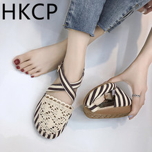 HKCP Shoes 2019 new Korean version of womens shoes cover foot hollow cloth boots flat with baotou sandals C178