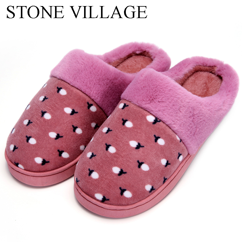 New Autumn & Winter Litchi Print Women Cotton Slippers Plush Warm Home Slippers Indoor Shoes Soft Bottom Women Slippers Men 2017 new home slippers women emoji soft cute cartoon slippers for women winter warm plush indoor home shoes winter soft cotton