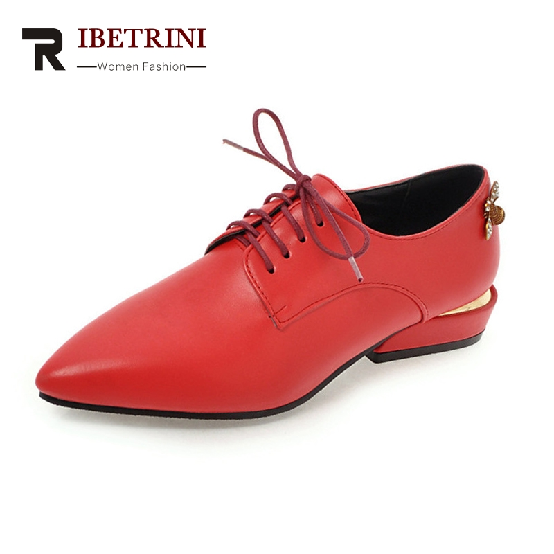 RIBETRINI Women's Low Heels Pointed Toe Lace Up Casual Dress Spring Autumn Shoes Woman Oxfords Big Size 34-43 2017 new spring autumn big size 11 12 dress sweet wedges women shoes pointed toe woman ladies womens