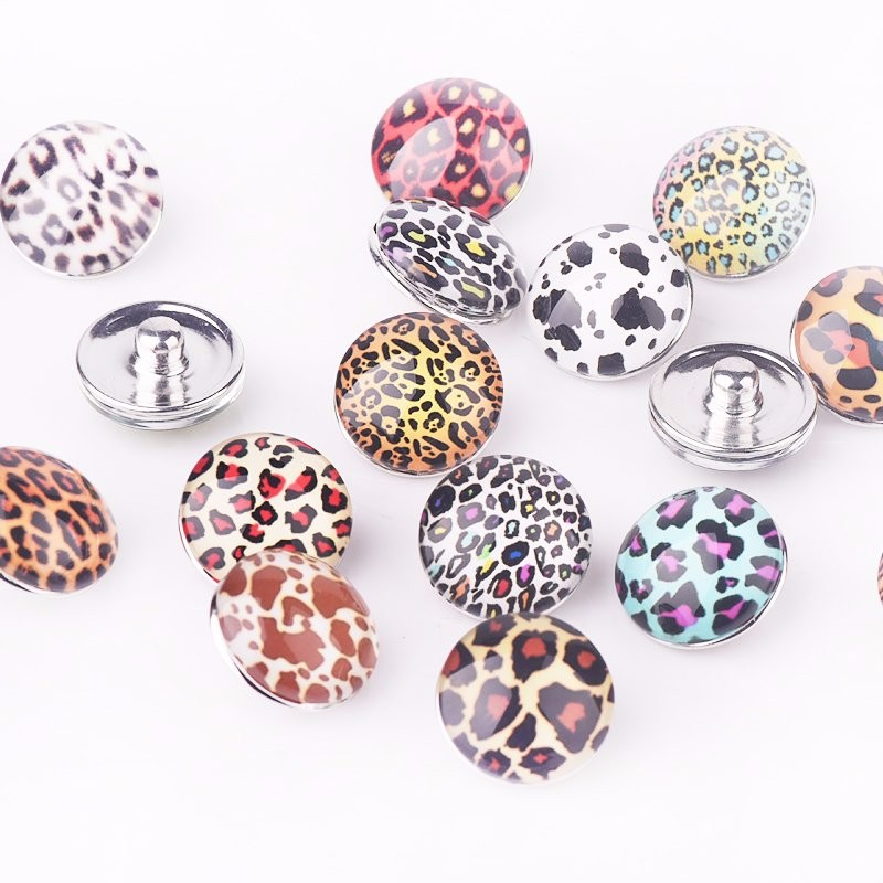 DIY Jewelry Findings Fashion Leopard Printed Glass Stone Buttons Round Snap Buttons for Bracelet 18mm(60 pcs Random) Wholesale button