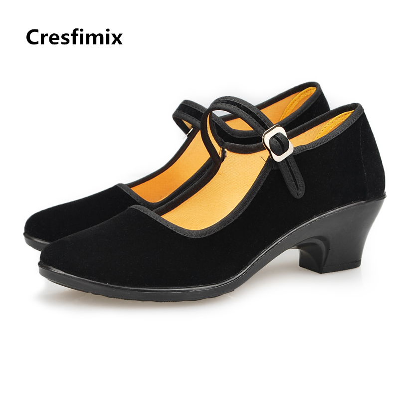 Cresfimix women fashion black shoes lady casual comfortable shoes female retro canvas buckle strap shoes zapatos de mujer cresfimix zapatos de mujer women fashion pu leather slip on flat shoes female soft and comfortable black loafers lady shoes