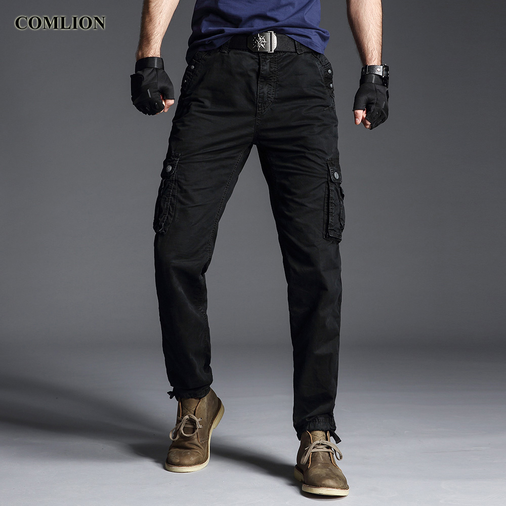 INFLATION 2019 Autumn Winter Streerwear Men Pants Hip Hop Cargo Trousers Multiple Pockets Elastic Waist Beam