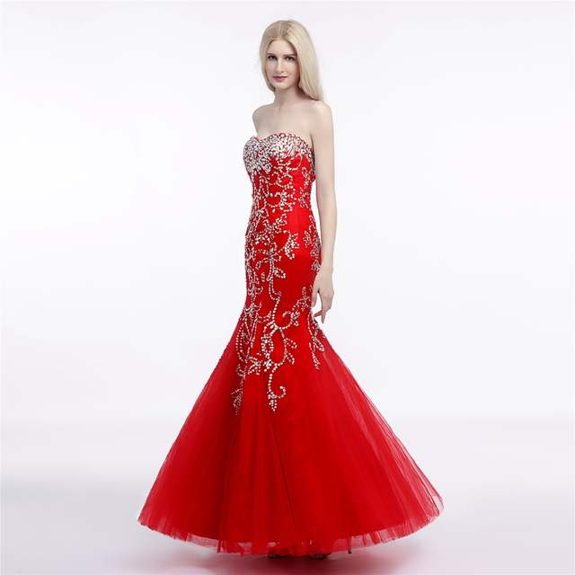 0a7542ccbc JaneVini Shiny Sequins Mermaid Formal Bridesmaid Dress Long Red Ladies  Wedding Party Dresses Tulle Floor Length Prom Gown 2018