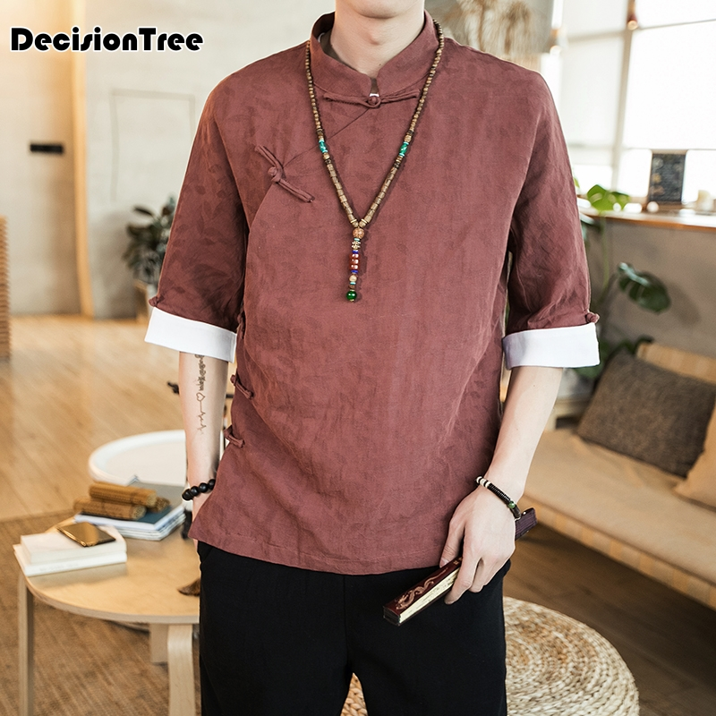 2019 summer arrival chinese style traditional chinese clothing cotton and linen mens coat long hanfu long sleeve tops
